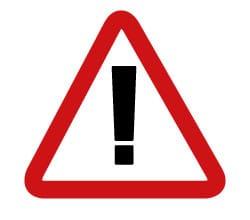 Hier ist eine Skizze/ ein Piktogramm. Darauf sieht man ein dreieckiges rot umrandetes Schild. In der Mitte ist ein dickes Ausrufe-Zeichen !