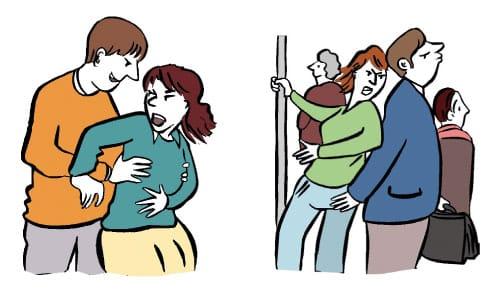 Hier ist eine Skizze/ ein Piktogramm. Darauf sieht man eine Frau und einen Mann. Der Mann fasst der Frau von hinten an die Brust. Die Frau drückt ihn weg. Hier ist eine Skizze/ ein Piktogramm. Darauf sieht man eine Frau in einem vollen Bus: sie steht und hält sich an einer Stange fest. Ein Mann steht dicht bei ihr und fasst sie an die Scheide.