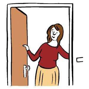 Hier ist eine Skizze/ ein Piktogramm. Darauf sieht man eine Frau, die in einer geöffneten Tür steht und freundlich/ einladend lächelt.