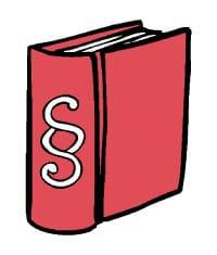 Hier ist eine Skizze/ ein Piktogramm. Darauf sieht man ein dickes rotes Buch mit dem §-Zeichen drauf. Ein Gesetzbuch.