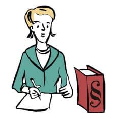Hier ist eine Skizze/ ein Piktogramm. Darauf sieht man eine Frau, die an einem Tisch sitzt und auf einen Zettel schreibt. Auf dem Tisch steht ein Gesetzbuch.