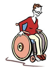 Hier ist eine Skizze/ ein Piktogramm. Darauf sieht man eine Frau, die im Rollstuhl sitzt und fährt.