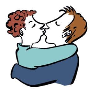 Hier ist eine Skizze/ ein Piktogramm. Darauf sieht man eine Frau und einen Mann. Sie umarmen und küssen sich.